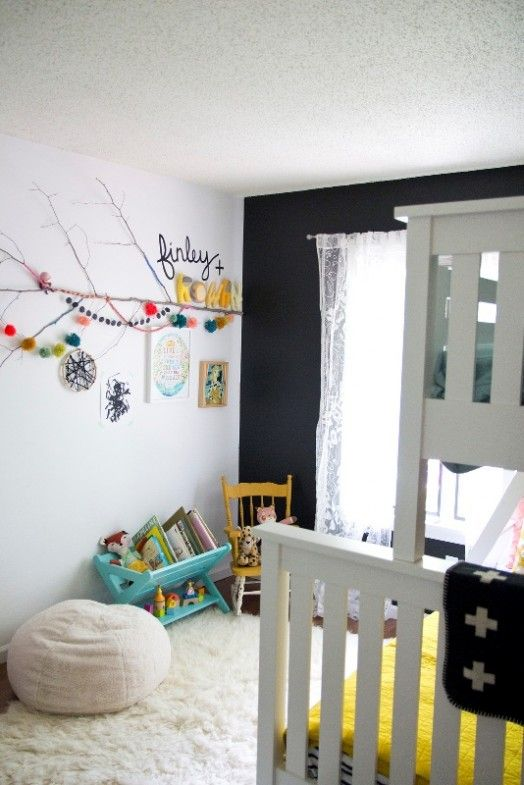Neutral Shared Girls Bedroom Design With Bright Pops Of Color | Kidsomania