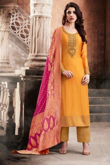 352db1fade Exclusive Orange Silk Trouser Suit With Dupatta - DMV15268 | Fashion ...