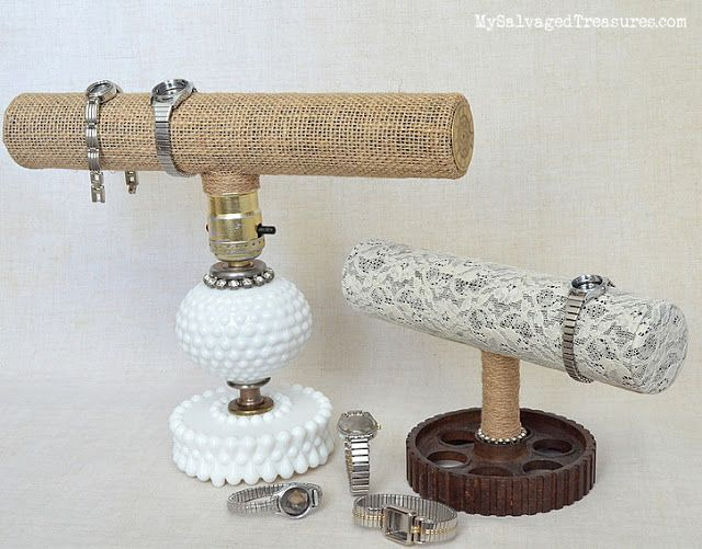 repurposed lamp jewelry display trash to treasure