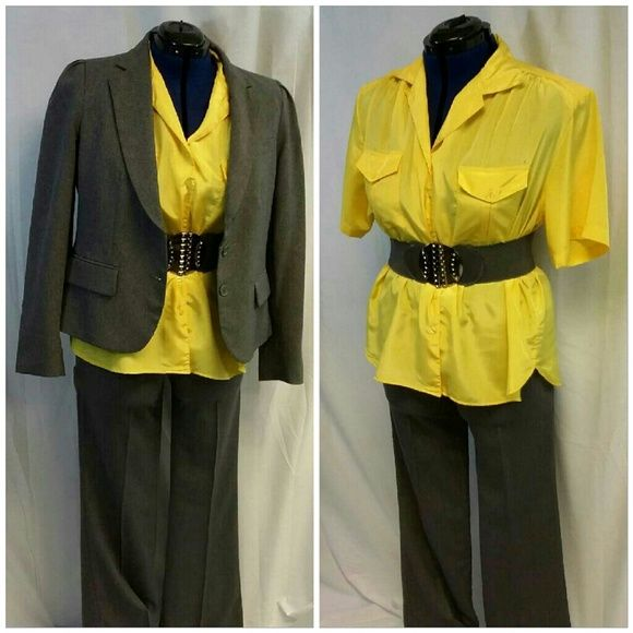 """PREDICTION Yellow Button up Fancy Top size 20W PREDICTION Yellow Button up Fancy Top, size 20W, v-neck, notched collar, 6 buttons, 2 chest pockets with button flap and inverted hidden pleat, front dropped gathered shoulder yoke, padded shoulders, gathered beneath center of 3 1/2"""" back shoulder yoke, short sleeves, shirt tail hem, light weight silky slinky shiny material,  machine washable, 100%polyester,  27"""" length shoulder to hem, 25"""" bust laying flat, 9"""" sleeves,  17 3/4"""" shoulder seam to…"""