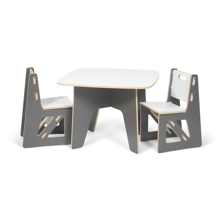 Sprout's Modern Kids Table and Chairs in Grey