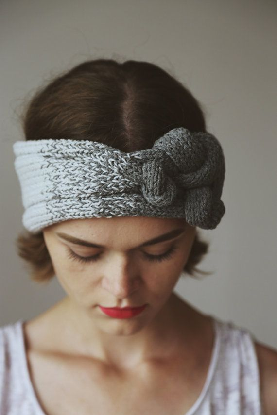 Etsy の Knitted Headband Gray Hodes by WontKnit