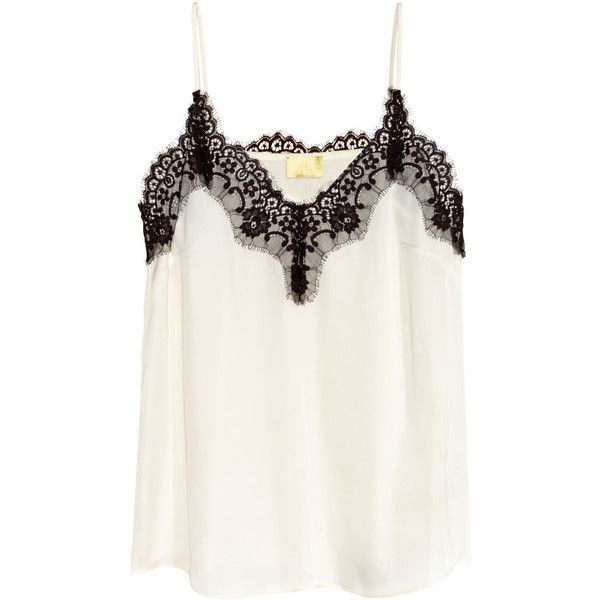 Satin Camisole Top with Lace $29.99 (95 BRL) ❤ liked on Polyvore featuring…