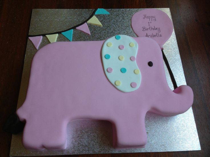 Elephant birthday cake with bunting banner- perfect for a first birthday  www. smalldelights.net.au