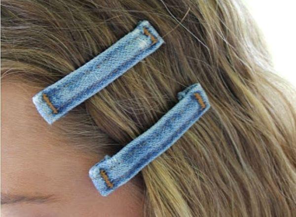 Descubre los accesorios para el cabello que puedes hacer con mezclilla #recicla #tela #proyecto