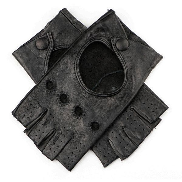 Black Ladies Black Leather Fingerless Gloves (€81) ❤ liked on Polyvore featuring accessories, gloves, cutoff gloves, black cut offs, black gloves, cut off gloves and driving gloves