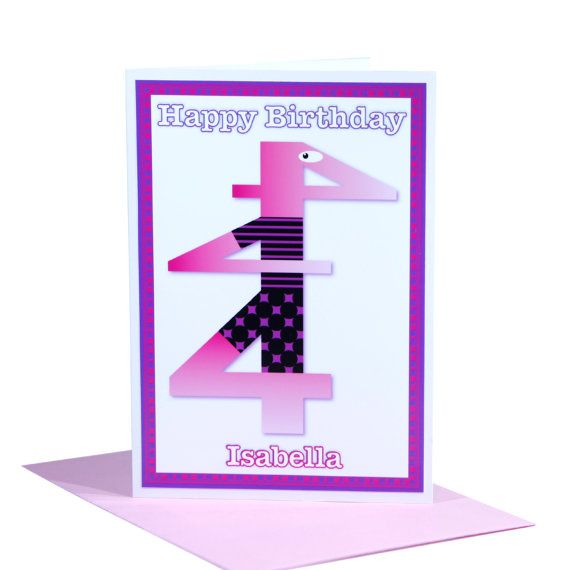 4th Happy Birthday card for girls with personalised NAME unique number four 4 character pinks inside message greeting and envelope options