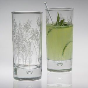 Floral Glass Hi Ball - new in home