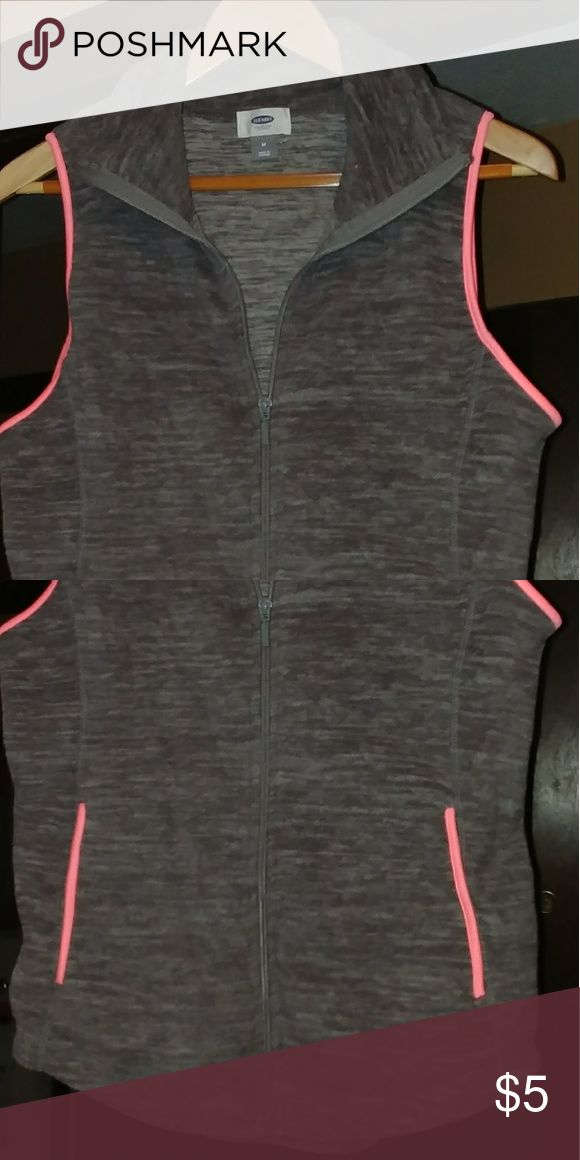 Old Navy fleece sleeveless vest Gray fleece with pink trim.  Full zipper front. Old Navy Jackets & Coats Vests