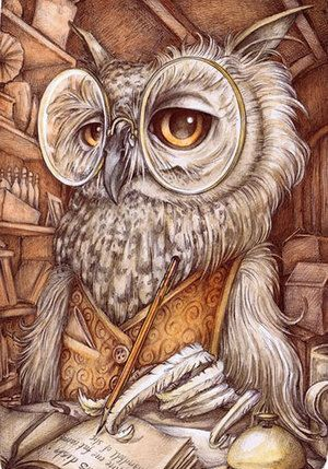 writing owl from the book 'Mr Pomphrey Dines Alone' (written by Jo Jette), illustration by Adam Oehlers