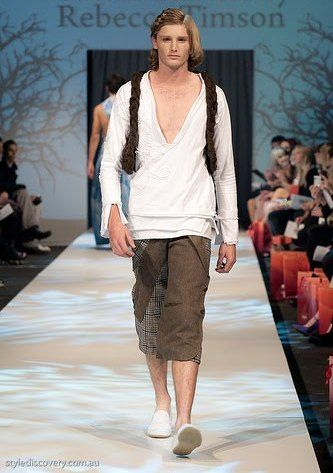 Perth Fashion Festival Bek Bek Design - Designer: Rebecca Timson Brown Knitted Vest, Recycled blazer turn shorts and white stretch top. Menswear. Image by stylediscovery