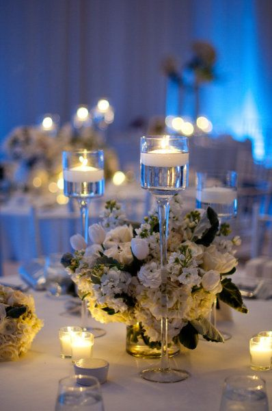pretty centerpieces with the different length holders