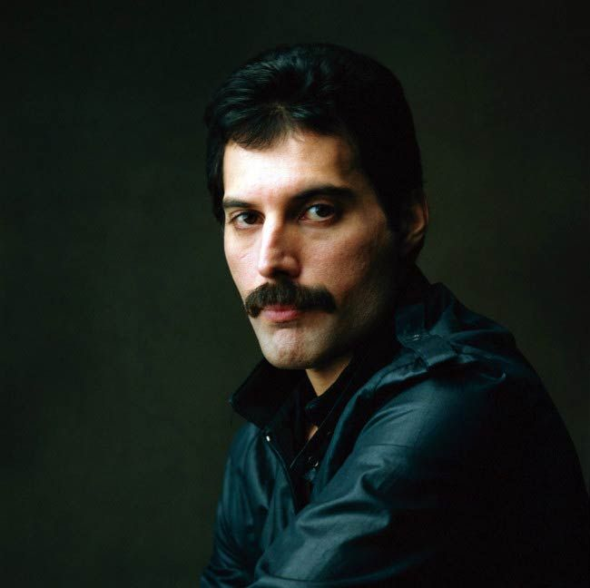 Freddie Mercury poses for a modeling photoshoot..