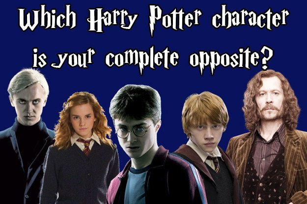 Which Harry Potter Character Is Your Complete Opposit, You got: Draco Draco is self-serving, generally pretty rude to other people, and really just kind of a dick. But not you! You're friendly, loyal, and would know not to insult a Hippogriff.