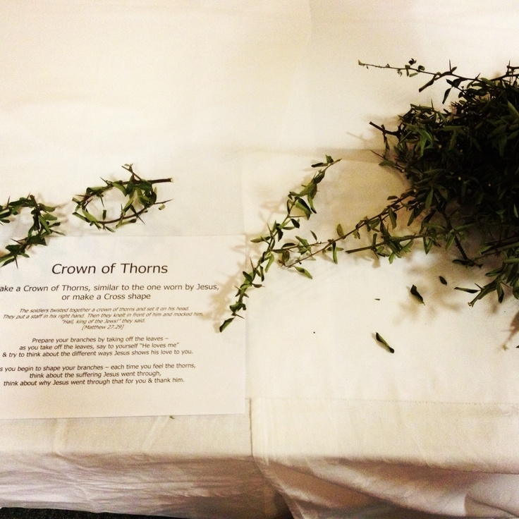 As easter prayer station at The Salvation Army Addlestone Corps 24/7 prayer, crown of throns!