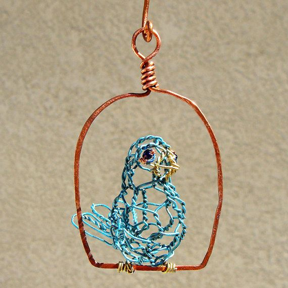 Copper Birdcage with Wire Bird Wire Sculpture by sparkflight