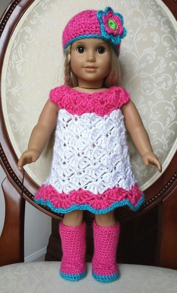 Crocheted American Girl 18 Doll Dress Outfit Clothes Boots Set No