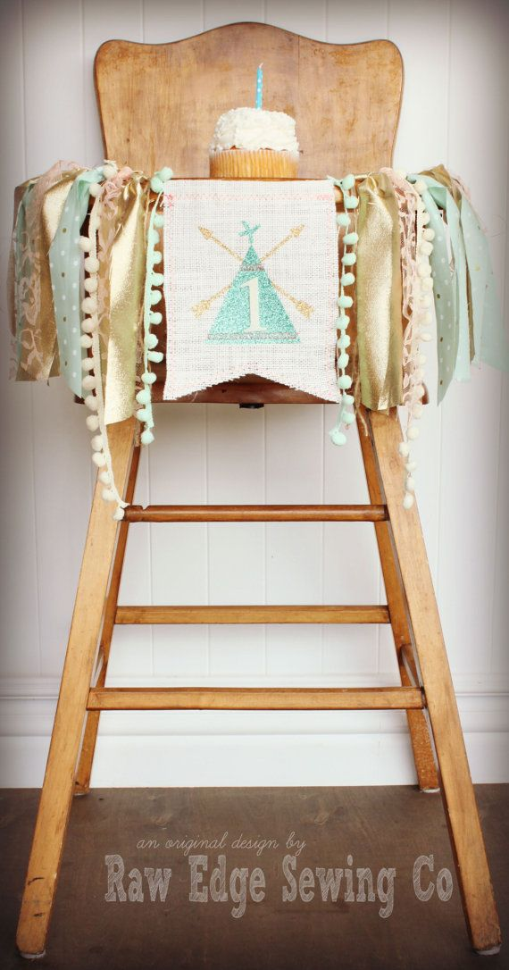 Teepee Birthday Banner Highchair High Chair Tee by RawEdgeSewingCo