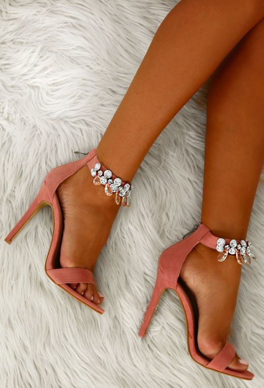 Mad About You Pink Faux Suede Embellished Barely There Heels | Pink Boutique