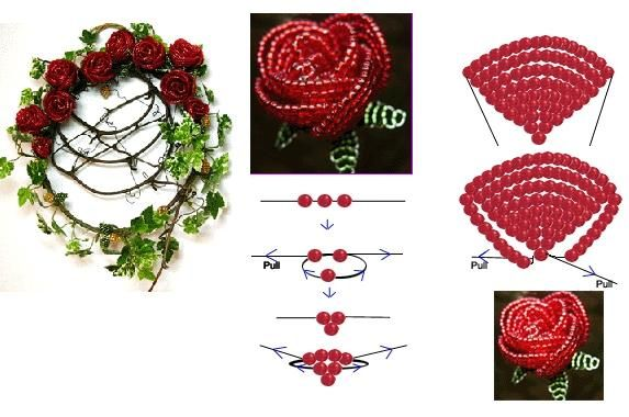 Crystal Beaded Rose - Beaded Jewelry Patterns 串珠玫瑰花