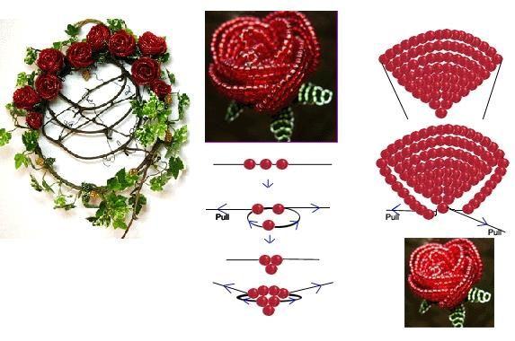 Crystal Rose : Beaded Jewelry Pattern - 水晶串珠玫瑰花的制作教程