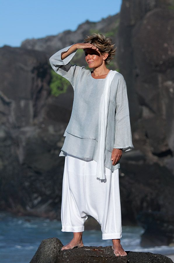 AMALTHEE CREATIONS Linen gauze tunic and harem pants #flax #linen #casual_elegance