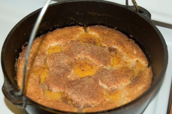 Dutch Oven Peach Cobbler, Simple Recipe.  Ready in about 40 minutes. (Yes another recipe)