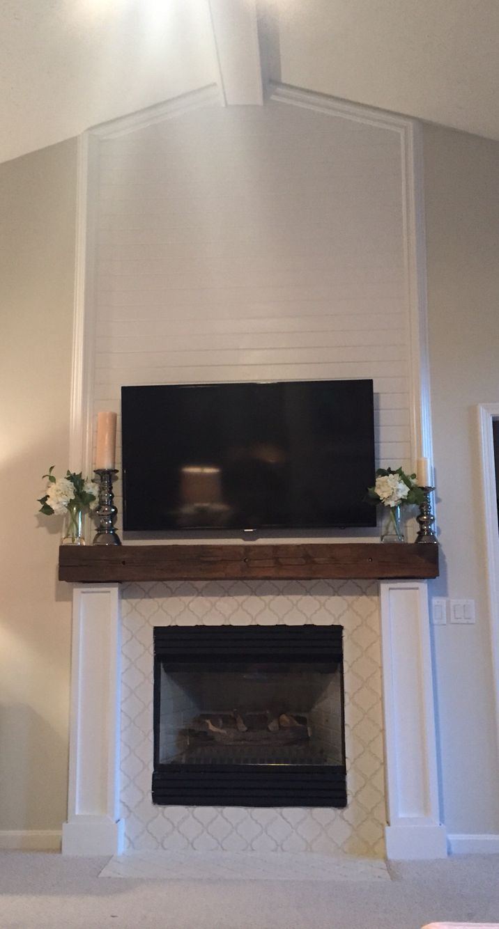 Image Result For Reclaimed Wood Mantle White Tile Wood Fireplace Surrounds Fireplace Built Ins Reclaimed Wood Fireplace