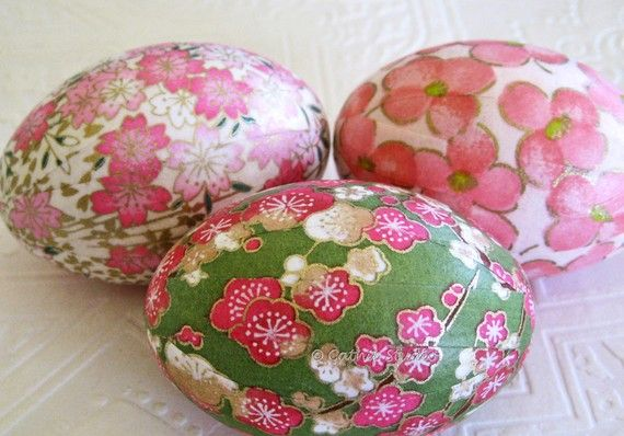 Pink and Green Origami Decoupage Easter Eggs by CatnipStudioToo, $21.00