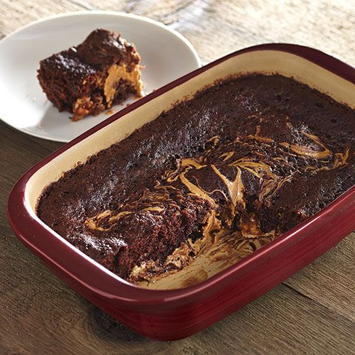 Microwave Peanut Butter Caramel Brownies - 4-6 min in the microwave with the Pampered Chef Deep Covered Baker!  (this is really great as just peanut butter brownies as well!)