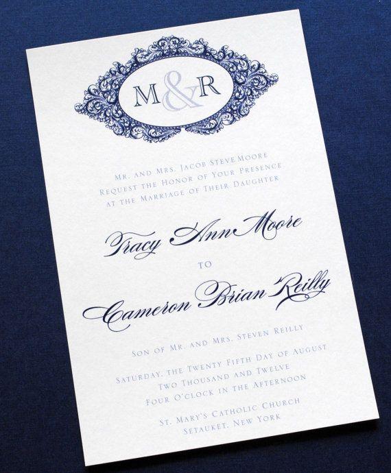 Vintage Navy and Gray Wedding Invitations - Blue, Navy, Grey, Gray, Vintage Wedding Invitations