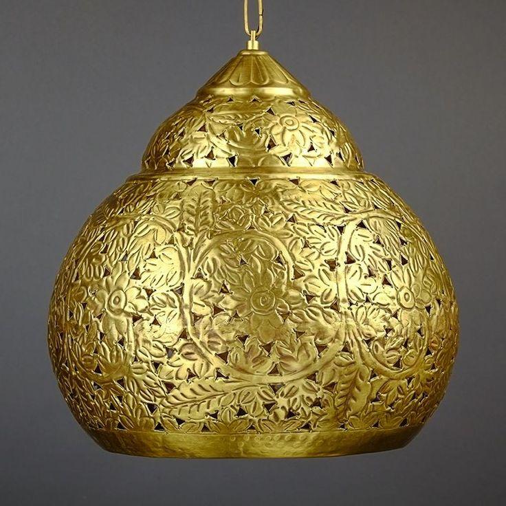 Ażurowa lampa wisząca w kolorze antycznego złota