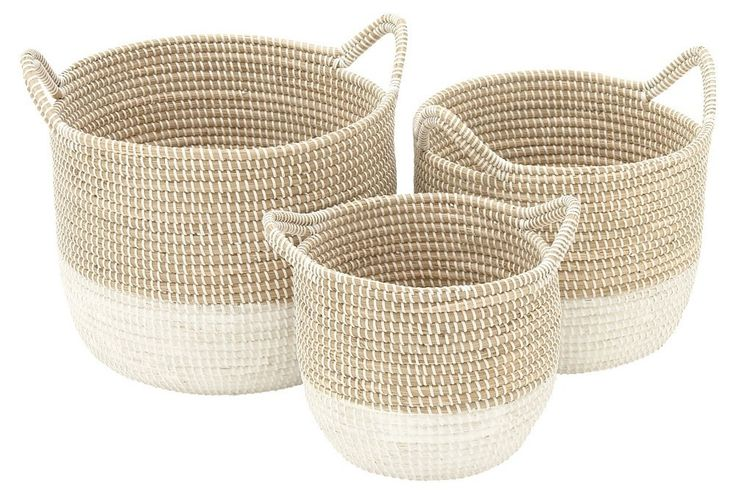 DecMode Charming Seagrass Basket - Set of 3