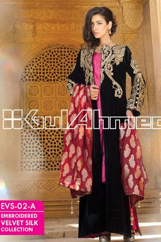 Embroidered Silk Velvet Coat Latest Gul Ahmed Collection
