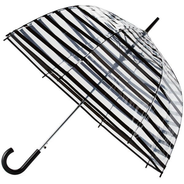 Marc By Marc Jacobs Striped Auto-Open Bubble Umbrella ($18) ❤ liked on Polyvore featuring accessories, umbrellas, marc by marc jacobs, plastic umbrella, bubble umbrella, folding umbrella and transparent umbrella
