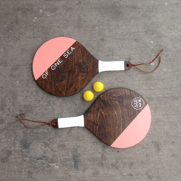 Hand-Crafted Paddleball Set in Coral Pink