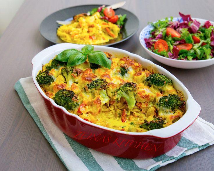 Pastagratäng med kyckling och curry