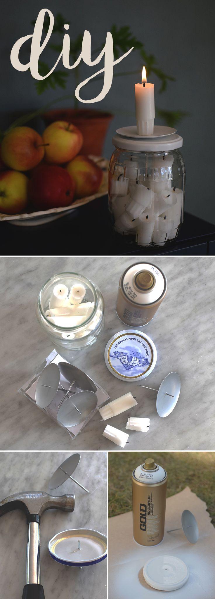 Pyssel_Gör en stumpastake av en glasburk och ljushållare till dina ljusstumpar_DIY_Make a candleholder for your candle ends_@helenalyth
