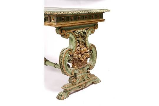 A REGENCY STYLE GREEN PAINTED CENTRE TABLE with pierced green and gilt painted supports united by