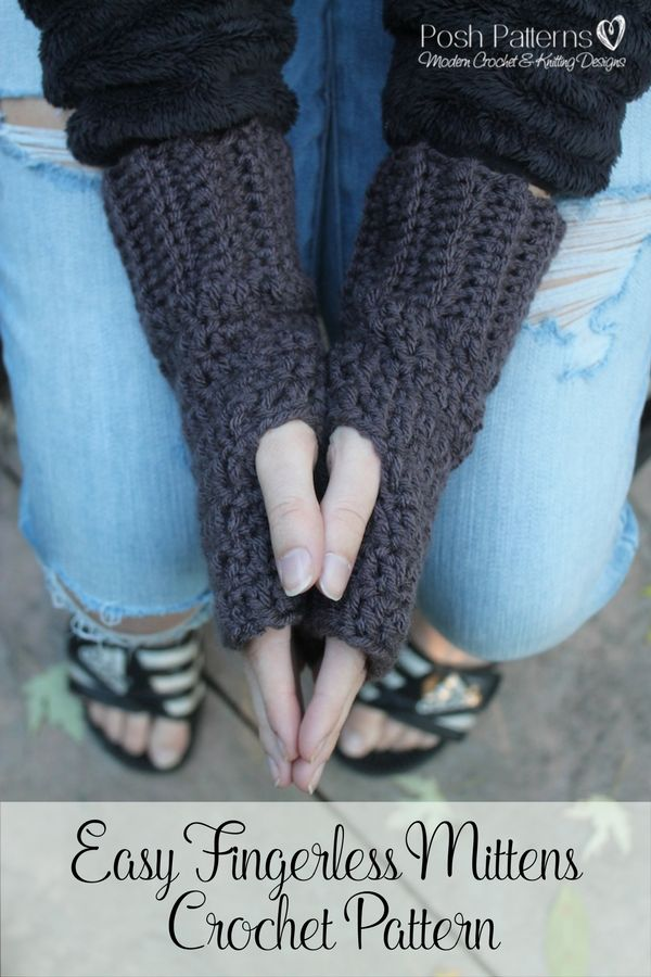 Crochet Pattern - Crochet these cute fingerless mitts for yourself, and all of your friends! Perfect for fall and winter. By Posh Patterns.