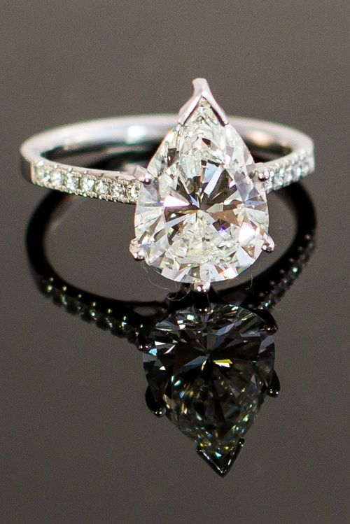 3.31K Pear Shape Diamond Solitaire -- 60 Stunning Jewelry Pieces From Pinterest @styleestate