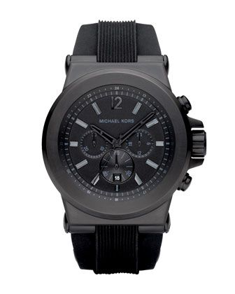 Michael+Kors+Silicone+Chronograph+Watch,+Black.