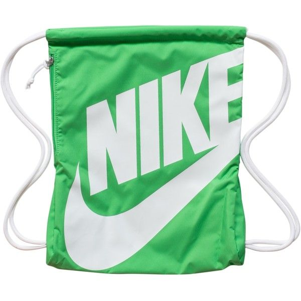 Nike Heritage Gymsack ($27) ❤ liked on Polyvore featuring bags, handbags, accessories, light green, womens-fashion, purse, nike, shoulder bags, nike bag e logo bags