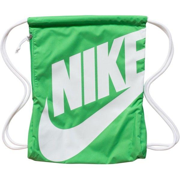 Nike Heritage Gymsack (£18) ❤ liked on Polyvore featuring bags, handbags, accessories, light green, womens-fashion, nike, logo bags, nike purse, nike handbags and accessories handbags