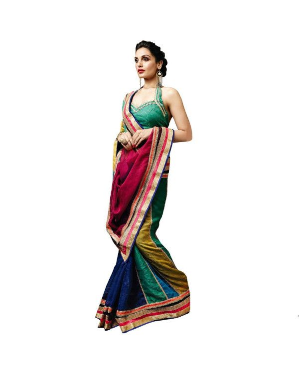 Multicolor Zari Work Saree To know more or buy, please click Below:- http://www.ethnicstation.com/multicolor-zari-work-saree-vl1767  #OnlineShopping