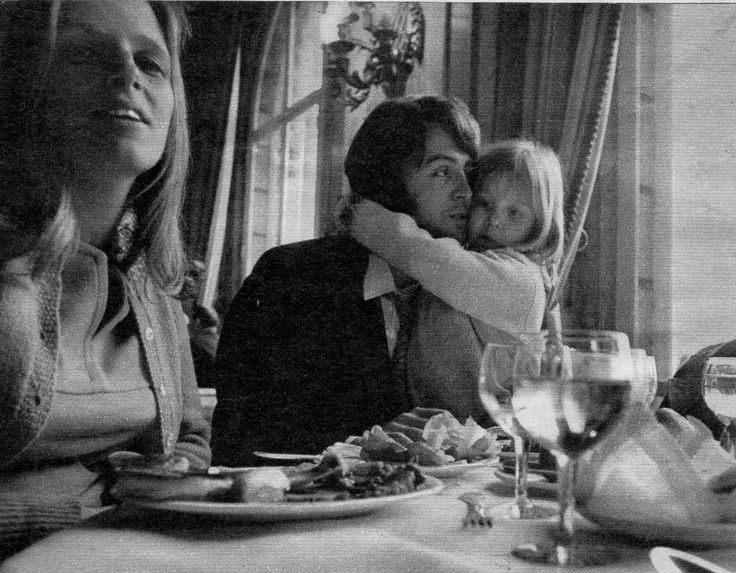 Paul McCartney and his wife Linda Eastman with their daughter Heather.