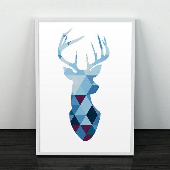 Ciervo silueta Geometrico Poster Triangulos por ShopTempsModernes