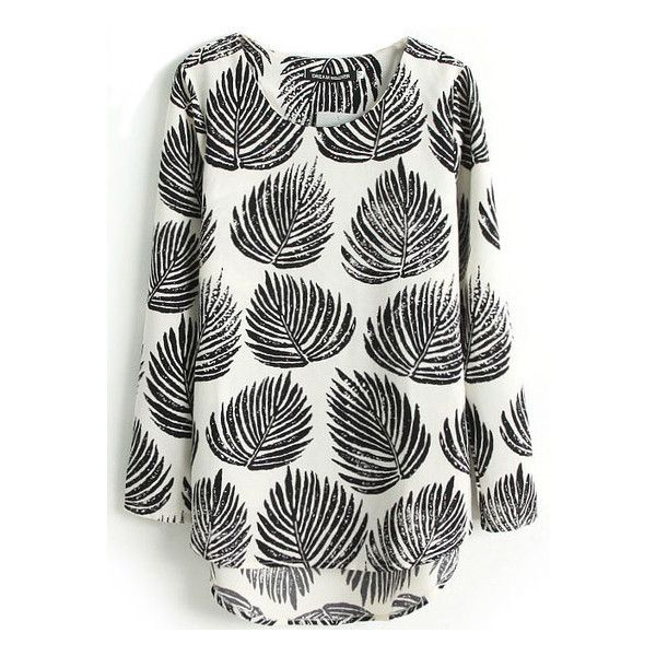 SheIn(sheinside) Black Long Sleeve Leaves Print Dipped Hem Blouse ($14) ❤ liked on Polyvore featuring tops, blouses, sheinside, blusas, black, slimming tops, print tops, black long sleeve top, collared blouse and pattern blouse