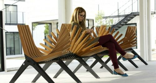 Boomerang bench a public seating installation in Dubai Design District created by Anna Szonyi. * furniture