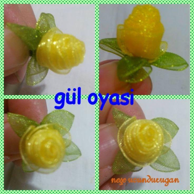Organze Kurdele oyaları& TOMURCUKLU KATLAMALI GÜL &Forex flower,health flower, summer flower - YouTube